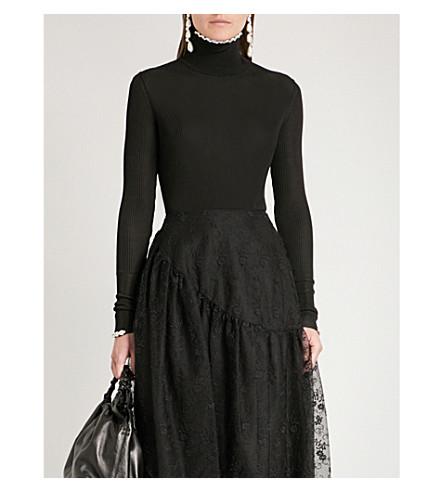 SIMONE ROCHA Embellished ribbed-knit turtleneck jumper (Black