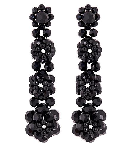 SIMONE ROCHA Four tier beaded drop earrings (Jet