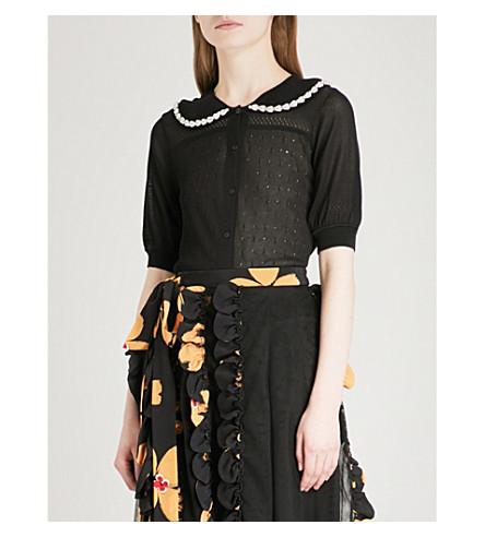SIMONE ROCHA Embellished fine-knit cardigan (Black