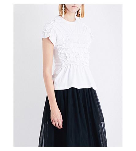 SIMONE ROCHA Smocked cotton-jersey T-shirt (White