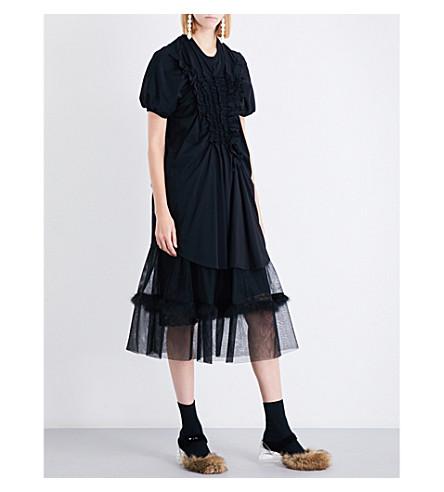 SIMONE ROCHA Smocked ruffle-trim cotton-jersey T-shirt (Black