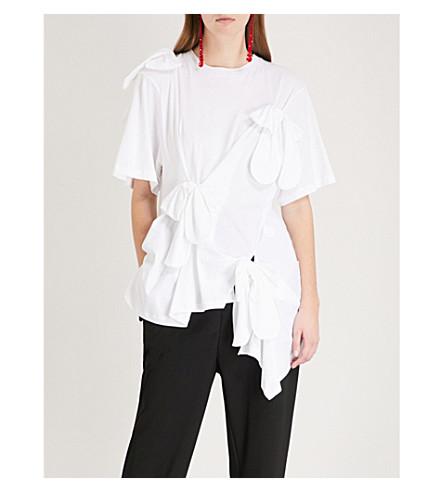 SIMONE ROCHA Bow-embellished cotton T-shirt (White