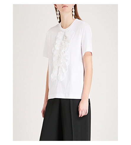 SIMONE ROCHA Frilled-detail cotton T-shirt (White/pearl