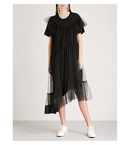 SIMONE ROCHA Tulle-overlay cotton dress (Black