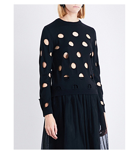 SIMONE ROCHA Dot-cutout wool silk and cashmere jumper (Black