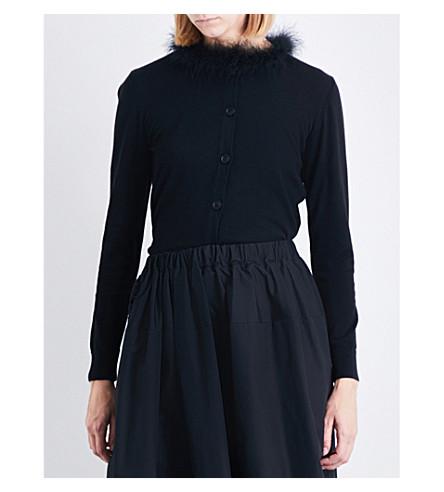 SIMONE ROCHA Feather-trim wool silk and cashmere cardigan (Black