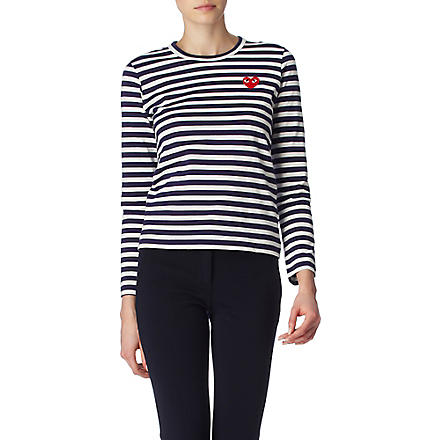 COMME DES GARCONS PLAY Striped heart top (Navy