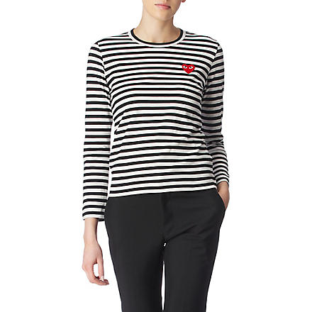 PLAY Striped heart top (Black