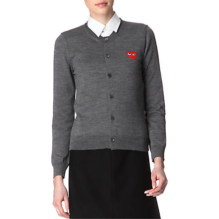 PLAY Embroidered-heart wool cardigan (Grey