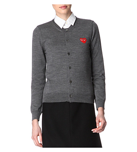 COMME DES GARCONS PLAY Embroidered-heart wool cardigan (Grey