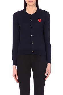 PLAY Embroidered-heart wool cardigan