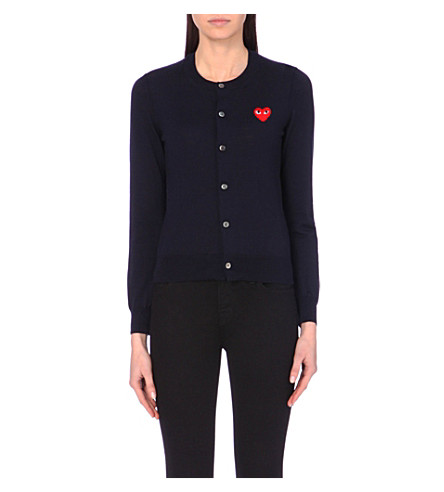 PLAY Embroidered-heart wool cardigan (Navy