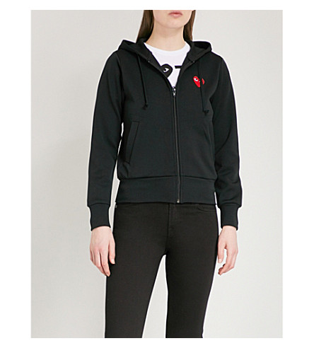 PLAY Heart-motif jersey zip-up hoody (Black