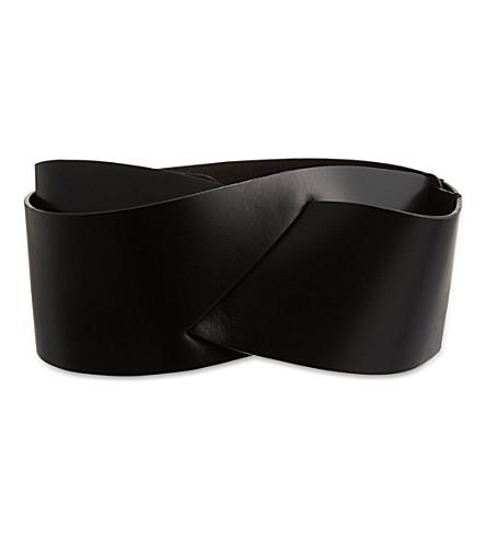 A.F.VANDEVORST Side slit leather belt (Black