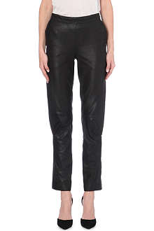 A.F.VANDEVORST Relaxed-fit slim high-waist leather trousers