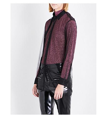 A.F.VANDEVORST Double placket mesh shirt (Black
