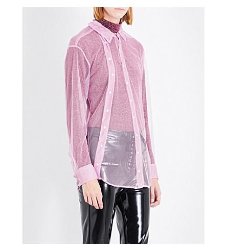 A.F.VANDEVORST Double placket mesh shirt (Fushia