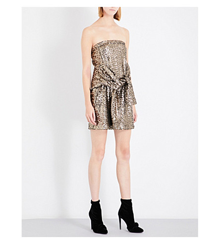 A.F.VANDEVORST Strapless sequinned mini dress (Bronze