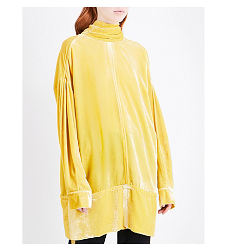 A.F.VANDEVORST Neck tie oversized velvet top (Canary