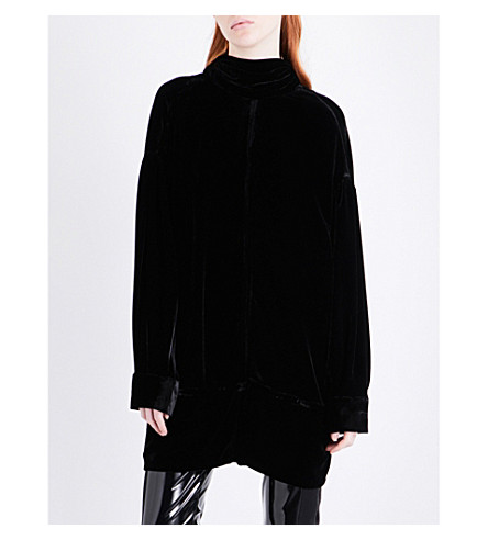 A.F.VANDEVORST Neck-tie oversized velvet top (Black