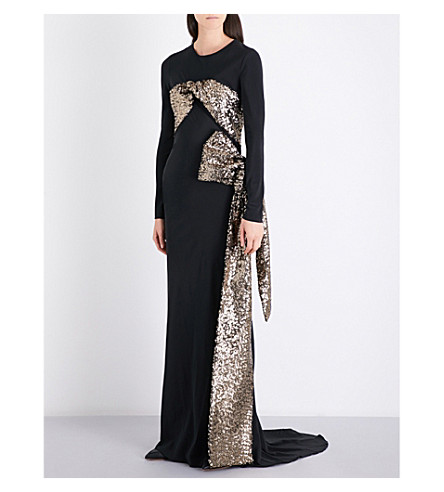 A.F.VANDEVORST Sequin-embellished stretch-silk gown (Black/bronze