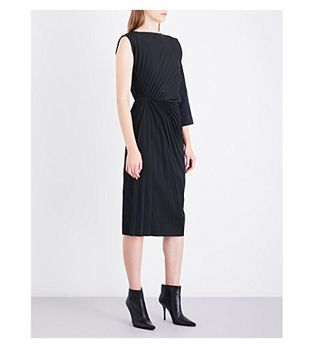 A.F.VANDEVORST Pleated neoprene midi dress (Black