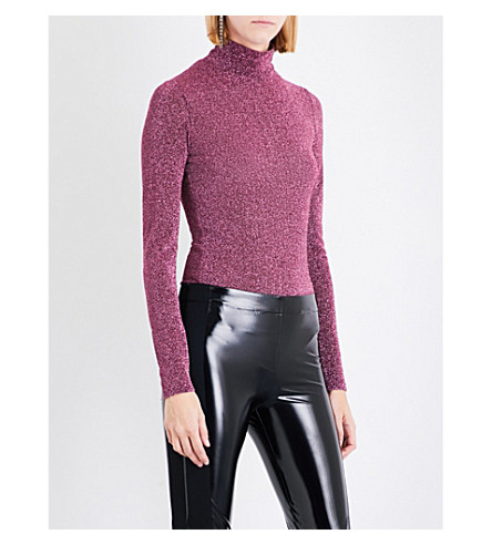 A.F.VANDEVORST High-neck metallic lurex body (Pink