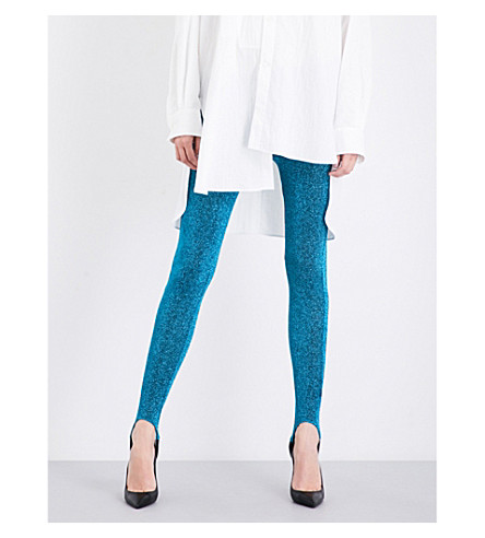 A.F.VANDEVORST Skinny high-rise metallic lurex leggings (Azure