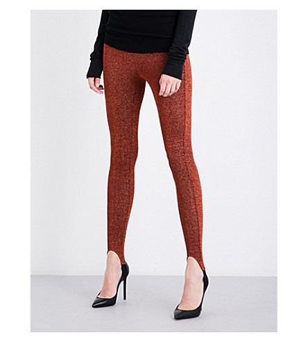 A.F.VANDEVORST Skinny high-rise metallic lurex leggings (Bronze