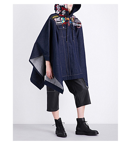 A.F.VANDEVORST Badge-embroidered hooded denim poncho (Jeans