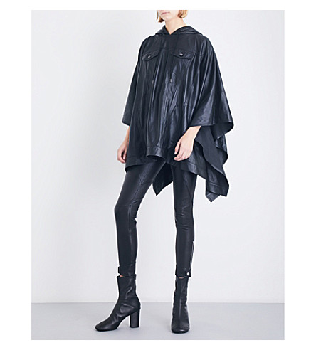 A.F.VANDEVORST Waterfall-hem hooded leather poncho (Black
