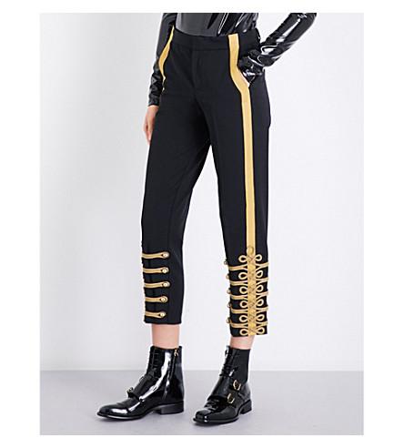 A.F.VANDEVORST Military tapered gabardine trousers (Black/gold
