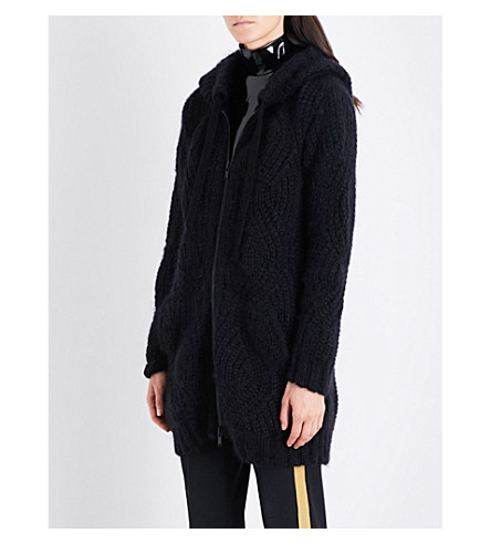 A.F.VANDEVORST Zip-up chunky-knit mohair-blend hoody (Black