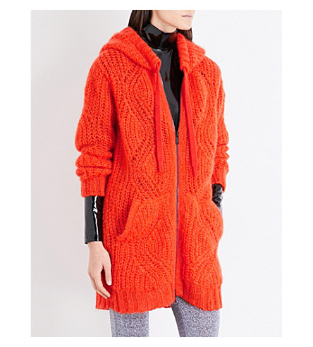 A.F.VANDEVORST Zip-up chunky-knit mohair-blend hoody (Flame