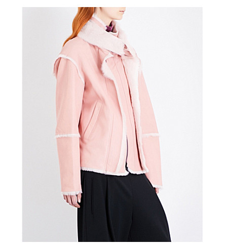 A.F.VANDEVORST Vulture shearling biker jacket (Pink