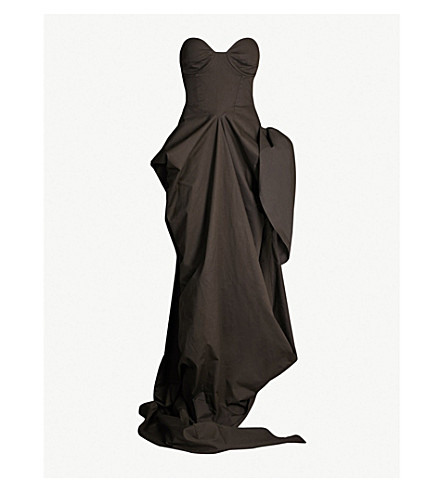 A.F.VANDEVORST Drama sweetheart stretch-cotton gown (Army