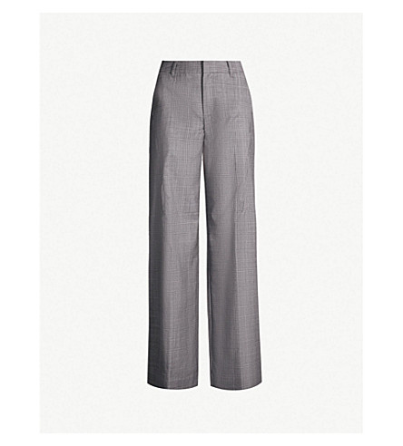A.F.VANDEVORST Checked wide-leg high-rise wool pants (Stone