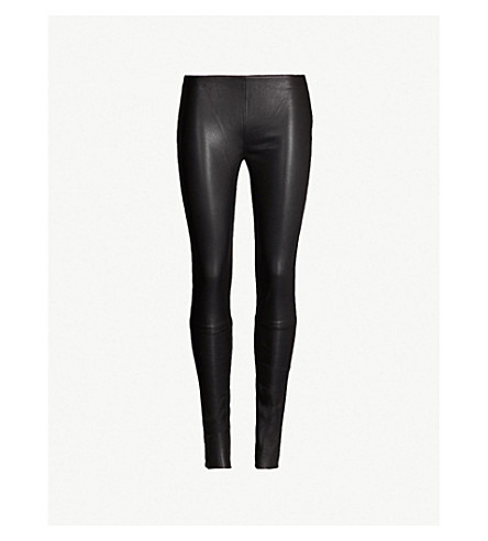 A.F.VANDEVORST Raw-hem leather leggings (Black