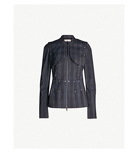 A.F.VANDEVORST Visible checked wool jacket (Blue