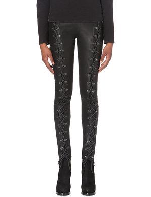A F VANDEVORST Punk lace-up leather trousers