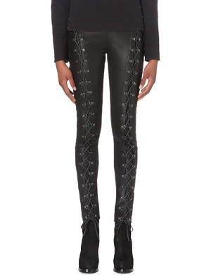 A F VANDEVORST Punk lace-up leather trousers