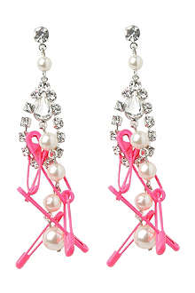 TOM BINNS Pearl, crystal and safety pin drop earrings