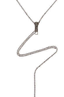 TOM BINNS Zip sterling silver drop necklace