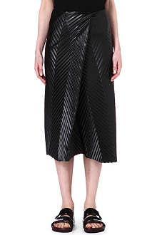 JW ANDERSON Pleated faux-leather skirt