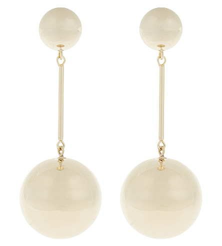 JW ANDERSON Sphere gold-plated drop earrings (Yellow+gold