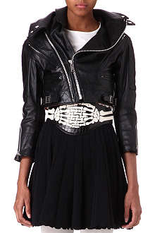 UNDERCOVER Cropped leather biker jacket