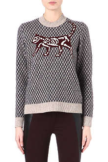 UNDERCOVER Skeleton cat wool-blend jumper