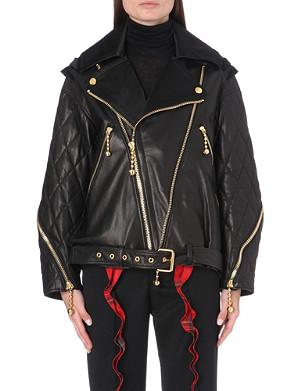 UNDERCOVER Ruffle back leather jacket