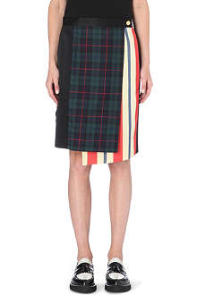 UNDERCOVER Tartan and stripe wrap skirt