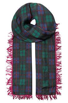 UNDERCOVER Fringed tartan print silk scarf